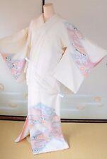 Kimono Tsukesage Silk White/Flower Mum Elegant/Vintage Japanese All Shibori