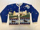 Vtg Bellepointe Bethlehem Christmas 80s Cardigan Sweater S Ugly Xmas Holy Grail