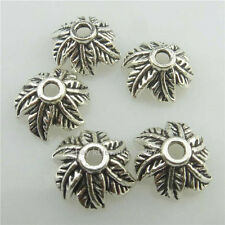 (18318-50X) 12mm Leaf Flower Spacer Beads Cap Jewelry Findings Vintage Silver