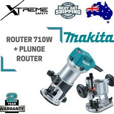 "Makita 6.35mm (1/4"") Router 710w + Plunge Router Attachment"