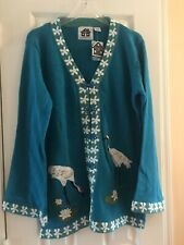 Storybook Knits Blue Floral With Birds Cardigan Sweater Large
