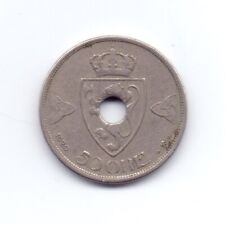 More details for rare 1920 norwegian 50 ore coin low mintage