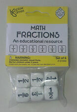 Fraction Dice (A new set of 6 dice with same fractions on each dice 15mm cubes)