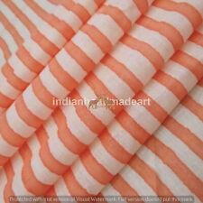 Printed Striped hand block 100% Cotton Running Fabric Sewing dressmaking Craft