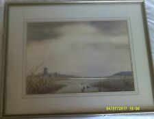 Framed and Glazed Watercolour Signed J.A. Hutchinson.'Blythburgh Church Suffolk,