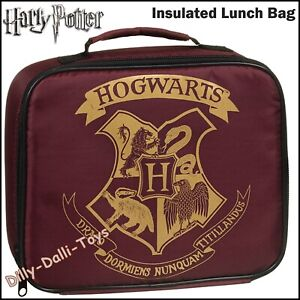 Harry Potter Lunch Bag Box Hogwarts School College Work Insulated Red & Gold NEW