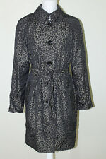 LONDON FOG Sz M Black Brown Nylon Leopard Print Button Down Belted Trench Coat