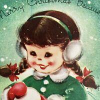 Vintage Greeting Card Christmas Mid Century Cute Little Girl Snowball Earmuffs