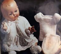 """Dolls Vintage Knitting Pattern Coat Dress Bootees Vest Pilch 3 Ply 14&16"""" S5436"""