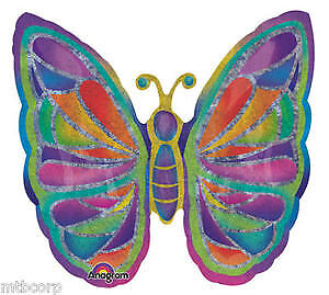 Sparkly Shiny Holographic BUTTERFLY SPA Jewel Tones Birthday Party Balloon