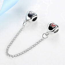 Silver Plated Disney Heart of Mickey & Minnie Safety Chain Fit European Bracelet