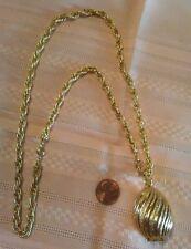 "Vintage Avon Pressed Solid Perfume Compact Pendant, Gold Tone 24"" Chain Neckace"