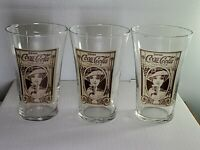 3 Coca Cola 16 Oz Re-creation Flair Glass Turn Of The Century Coke Archives