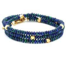 Tateossian Rocktonica London Mens Azurite Bead Wrap Bracelet 19K Gold 💙