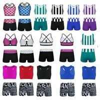 Girls Kids 2-Piece Set Dance Outfit Jazz Gym Sports Crop Top+Shorts Dancewear