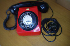 RED/ BLACK  vintage rotary phone / analogue phone 80s