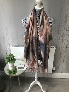 Frank Usher Abstract Reptile Print Scarf Natural New