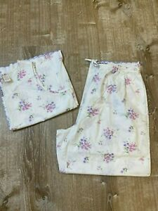 Vintage Woman's Gilligan & O'Malley Sleepwear Pajama set Cotton Floral XL EUC