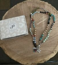 Plunder Joelle Necklace - Multi-colored beads with cross & leaf charm