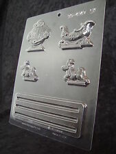 Christmas Chocolate/Soap Mould - Stand-up Santa Sleigh Reindeer 4147 Free 1st cl