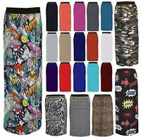 Ladies Plain Printed Gypsy Maxi Skirt Women Jersey Long Stretch Fancy Dress 8-26