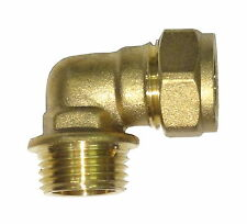 15mm Compression x 1/2 Inch BSP Male Elbow | Brass Plumbing Fittting