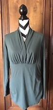 CAbi Flatter Me Wrap Top Ruched Empire Waist Long Sleeve Green Size XL Style 133