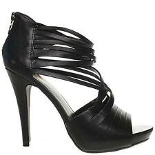 ASH WOMENS LADIES HIGH LEATHER BLACK HEEL PEEP TOE SANDALS  UK 8 EU 41 RRP249