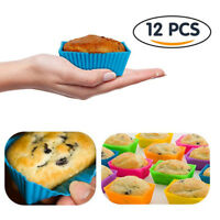 12Pcs Square Silicone Cake Cup Muffin Chocolate Cupcake Baking Cookie Mold DB