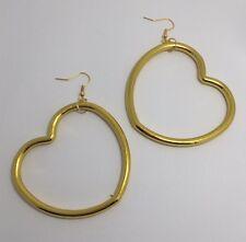Oversized Large Gold Metallic Heart Acrylic Earrings G032 9cm Long Gold Hoop