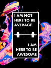 Gym Word Art Here To Be Awesome Wall Art Print Poster 12X16 '' HP4182