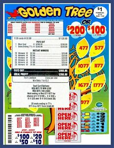Seal Card 1120ct 5W $1.00 GOLDEN TREE Bingo pull tab Last Sale sign ($200)