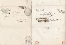* 1850/4 2 x italien états lettres - 7 marques postales & cachets-italie-stampless