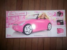 Barbie Pink Glam Convertible Car Doll Vehicle w Pink & White Patterned Seats