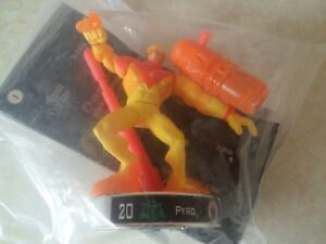 """Attacktix Marvel Action Figure """"Pyro"""" Silver Base - HTF With Missile"""