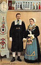 Sweden Leksand Brudpar c1910 Postcard Married Couple In Traditional Ethnic Dress