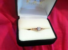 14K Yellow gold ring size 7.5 1/4 carat round diamond 1.7 grams Antique Vintage