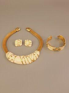Signed MONET Vintage Set Necklace Bracelet Clips Earrings Cream Enamel Gold Tone