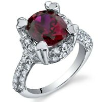 3.5 carat Oval Created Ruby Gemstone Ring in Sterling Silver