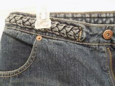 NWOT - Route 66 - Low Rise Denim Shorts -Braided Waist- 2 Front Pockets -Size 16