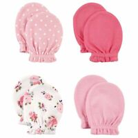 Luvable Friends Girl Scratch Mittens, 4-Pack, Floral & Polka Dot
