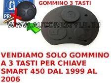 GOMMA TASTO CHIAVE TELECOMANDO RICAMBIO MORBIDI SMART FORTWO 450 3 TASTI FOR TWO