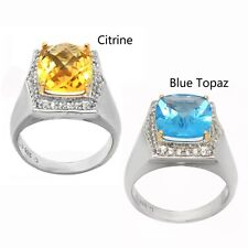 De Buman 14K YG & Sterling Silver with Genuine Blue and Citrine White Topaz Ring