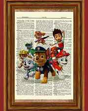 Paw Patrol Dictionary Art Print Poster Picture Book Dog Puppy Cartoon Party Gift