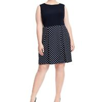 Single Twofer Navy Polka Dot Sleeveless Jersey Fit And Flare Dress Size L