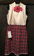 $2980 NWT Gucci Tweed Check Sleeveless Dress With Crystal Bow Detail Size 40