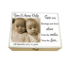 Personalised Twins wooden Keepsake Box, Your photo & words Printed, gift