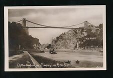 Gloucestershire CLIFTON Bridge paddle steamer tug + sailing ship pre1919 RP PPC