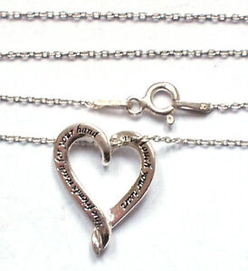 925 Sterling Silver Necklace Heart Embossed 'True Friends...' Gift Pendant Love