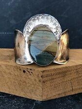 Navajo Modernist Sterling Silver Cuff Bracelet Picture Jasper Southwest Chic